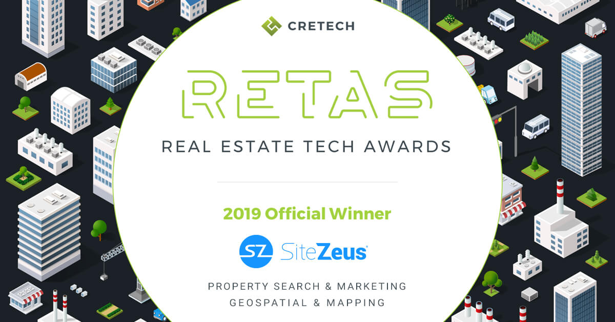 SiteZeus named #1 property search and mapping platform for CRE at 2019 real estate technology award (#RETAS)